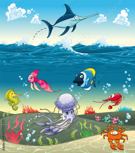 Zdjęcia na płótnie, fototapety na wymiar, obrazy na ścianę : Under the sea with fish and other animals. Vector illustration