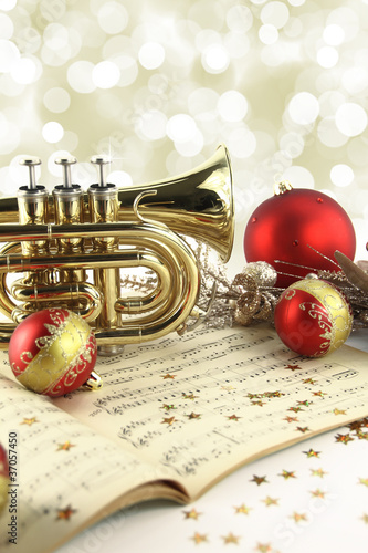 Leinwanddruck Bild Christmas music decoration