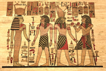 Egypt Papyrus with elements most prominent of the antique Egypt.