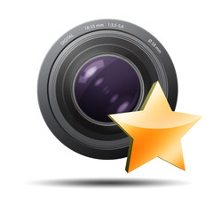 Lente de camara fotografica con estrella