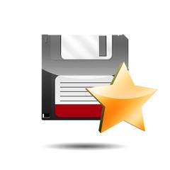 Icono disquete 3D con estrella