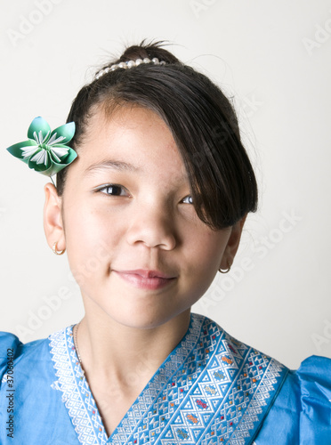 Asian Girl with Origami Flower