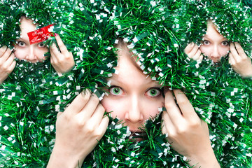 Christmas Girl in tinsel