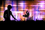 Party DJ sound on city background illustration