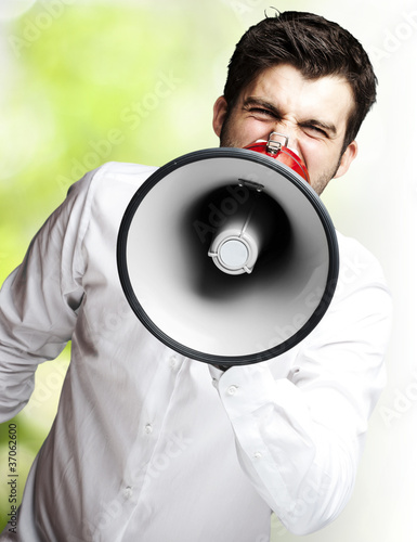 young man shouting