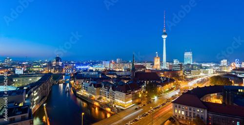 Berlin panorama at night