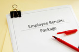 an employee benefits package and red pen poster