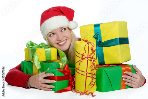 Girl with a pile of gifts