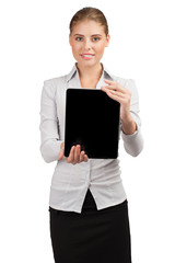 Business woman holding electronic tablet