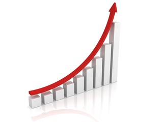 success growing business graph with red arrow