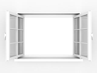 Opened white plastic window