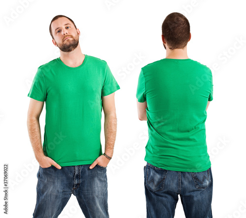 Male wearing blank green shirt