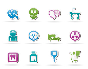 Medicine and hospital equipment icons