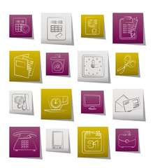 Business and office tools icons - vector icon set