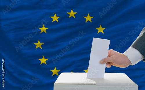 man voting on elections in europe