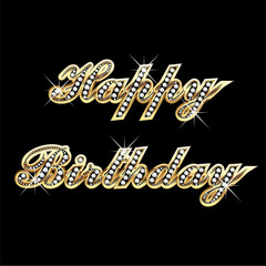 Happy birthday in gold with diamonds and bling bling