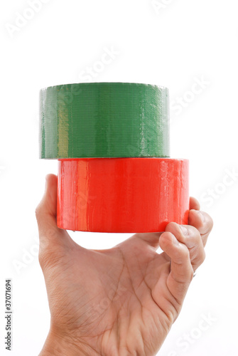 Hand Holding Colored Duct Tape