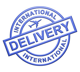 """International Delivery"" Blue Icon"