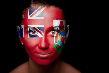 woman with the flag of the Bermuda Islands