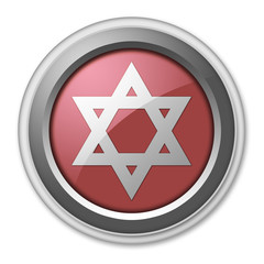 "Red 3D Style Button ""Star Of David"""