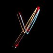 Letter Y made from brightly coloured neon lights