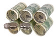 dollars banknotes rolls and coins