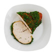 Sliced roasted turkey breast on plate