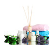 Bottle of air freshener, lavander, towels and candles isolated