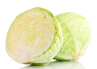 Whole cabbage and half isolated  on white