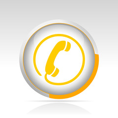 bouton téléphone cercle orange