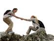 female explorers lend a helping hand