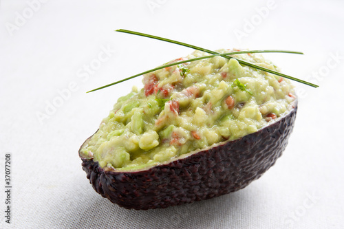 Avocado stuffed with guacamole