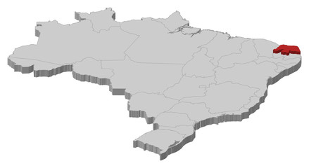 Map of Brazil, Rio Grande do Norte highlighted