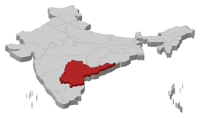 Map of India, Andhra Pradesh highlighted