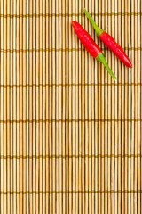 Red chilli on a bamboo mat