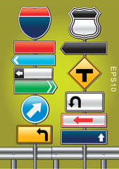 Direction road signs — arrows. Vector illustration.