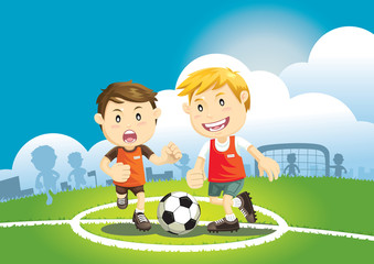 Children playing soccer outdoors