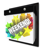 Weekend Word on Wall Calendar Fun Plans Time Off poster