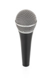 black metallic microphone for voice recording isolated on poster