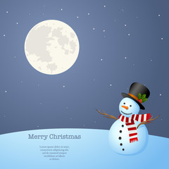 Snowman at night staring at the Moon