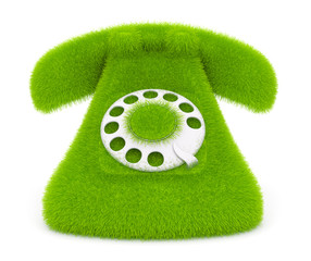 Vintage green phone of grass. Icon; 3d illustration isolated on