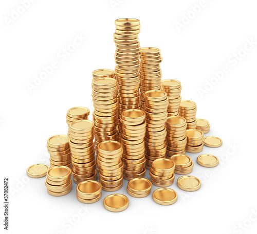 Heap gold coins 3D. Business concept. Isolated on white backgrou