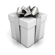Gift box with silver ribbon bow on white