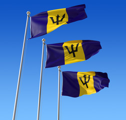 Three flags of Barbados against blue sky.