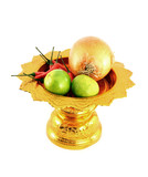 vegetables mix with golden tray on white background poster