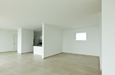 new empty loft, modern kitchen, interior
