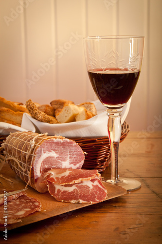 Italian salami, bread and wine