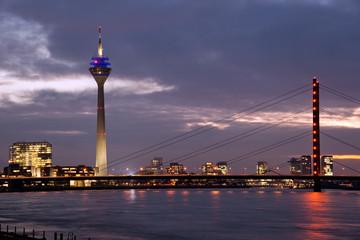Rhine bridge with Tower in Media Harbor, Dusseldorf