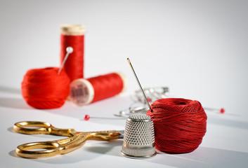 Red sewing kit, landscape
