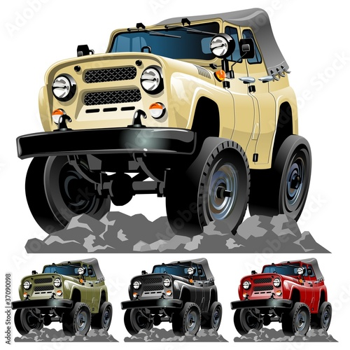 Keuken foto achterwand Cartoon cars Vector cartoon jeep one click repaint